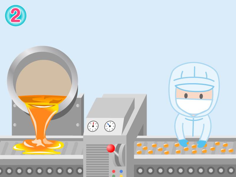 製造工程②飴の冷却と成型